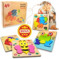Wooden Jigsaw Puzzles Animal Puzzles For Toddlers Kids 1 2 3 Years Old Unique Chunky Puzzle With