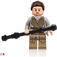 Lego Star Wars Minifigure Rey With Hairpiece And Black Staff