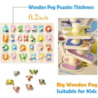 Kids Wooden Peg Puzzles Set For Toddlers 2 3 4 Years Old Alphabet Abc Numbers 123 Farm Animals