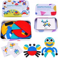 Puzzle Educational ToysWooden Pattern Blocks Animals Jigsaw Puzzle Sorting And Stacking Games For