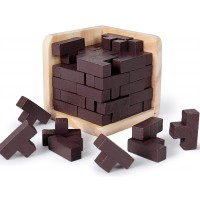 Rolimate Brain Teaser 3D Wooden Puzzle Tshaped Tetris Educational Puzzles Geometric Intellectual