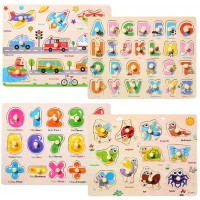 Wooden Peg Puzzles For Toddlers 2 3 4 Years OldToddler Puzzles InsectVehicles Letters And