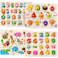 Wooden Peg Puzzles For Toddlers 2 3 4 Years Old Alphabet Abc Numbers Fruits And Animals Learning