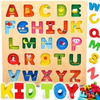Cozybomb Wooden Alphabet Abc Baby Puzzle For Toddlers 2 3 Years Alphabets Name Puzzles Set Letter