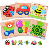 Magifire Wooden Toddler Puzzles Gifts Toys For 1 2 3 Boys Girls Baby Infant Kid Learning