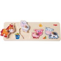 Haba Baby Farm Animals Clutching Puzzle 4 Piece Jumbo Knob Wooden Puzzle For Ages 1 And