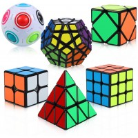 Thinkmax Rubix Cube Set 6 Pack Speed Cubes Bundle 2X2X2 3X3X3 Pyramid Megaminx Skew Cube Magic