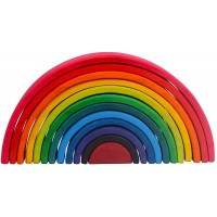Large 12 Pieces Rainbow Stacker Nesting Puzzle Wooden Building Blocks Rainbow Toy Parent Child