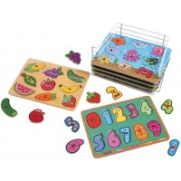 Puzzle Universe Wooden Peg Puzzle Set 6 Pack Wood Puzzles With Wire Storage Rack Include Abc 123