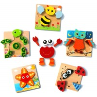 Wooden Jigsaw Puzzle Allengel 6 Pack Animal Shape Color Montessori Toy Fine Motor Skill Early