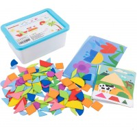 Jamohom Wooden Pattern Blocks Activity Cards Geometric Wood Shape Puzzles Montessori Toys For