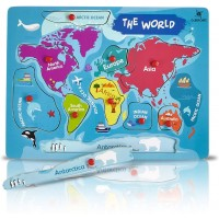 Gleeporte Wooden Peg Puzzle World Map Theme Learning Educational Pegged Puzzle For Toddler Kids 7