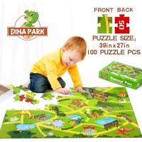 Kids Floor Puzzle Dina Park 100 Piece Dinosaur World Jigsaw Puzzle 38 L X 27 W With 11 Dinosaur Map