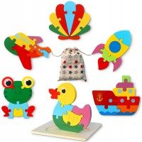 Wooden Jigsaw Puzzle Set Allengel 6 Pack Animal Shape Color Montessori Toy Fine Motor Skill Early