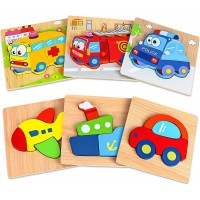 Dreampark Wooden Jigsaw Puzzles 6 Pack Vehicle Puzzles Toddlers 1 2 3 Years Old Educational Toys