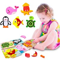 Toddler Wooden Jigsaw Puzzles Educational Toys For Toddlers 1 2 3 Years Old Wooden Color Shapes