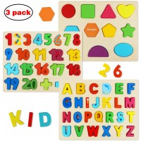 Wooden Puzzles For Toddlers Aitey Wooden Alphabet Number Puzzles And Shape Puzzle Ages 2 3 4