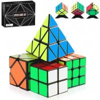 Monilon Speed Cube Set 4 Pack Kids Toys Magic Cube Bundle Smooth Brain Teaser Puzzles 2X2 3X3