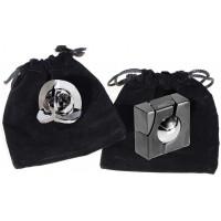Marble Equa Hanayama Cast Metal Brain Teaser Puzzle Pack Bonus 2 Black Velveteen Drawstring Pouches