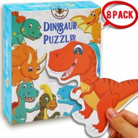 Beestech Beginner Dinosaur Puzzles For 2 34 Toddlers 8 Pack Wooden Jigsaw Floor Puzzles Educational