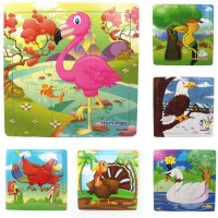 Muxihosn Wooden Jigsaw Puzzles With Storage Tray Birds Set Kids Toys Preschool Learning Game For 35