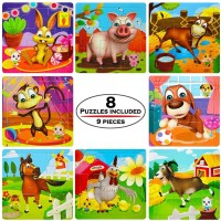 Wooden Jigsaw Puzzle For Kid Age 3 2 4 24 9 Piece Toddler Children Puzzle Set 8 Puzzles Preschool