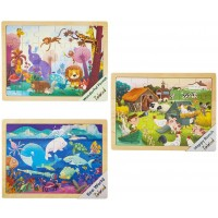 Robotime Wooden Jigsaw Puzzle Set With Storage Tray 3 Sets Baby Puzzle Games Prekindergarten Toys