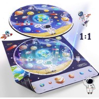 Iplay Ilearn Wooden Solar System Jigsaw Puzzles Circular Floor Puzzle Planets Learning Space Toy