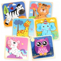 Wooden Animal Puzzles For Toddlers6 Jigsaw Puzzles With 35 Pieces And Storage Bag Montessori