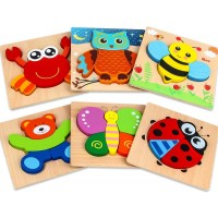 Geekism Toddler Wooden Animal Jigsaw Puzzles Wood Shapes Learning Puzzle For Toddlers Kids Baby