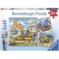 Ravensburger 09226 Large Construction Vehicles 3 X 49 Piece Puzzles In A Box 3 X 49 Piece Puzzles