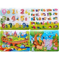 4Pack Wooden Jigsaw Puzzles Ages 48 Educational Toys 60 Pieces Floor Children Puzzle Include