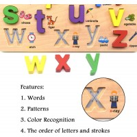 Gybbermumu Alphabet Blocks Colorful Cartoon Pattern Jigsaw Board Wood Abc