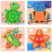Yonala Wooden Jigsaw Puzzles For ToddlerWooden Chunky Shape Puzzles 1 2 3 Years Old Kids Boys Girls