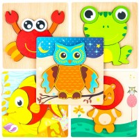 Wooden Jigsaw Puzzles For Toddlers Kids 1 2 3 Years Old Educational Toys Gift 5 Packs Bright