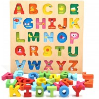 Jamohom Wooden 26 Letters Puzzles Educational Toys Baby Learning Uppercase Alphabet Jigsaw Game For