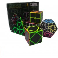 Speed Cube Puzzle Pack 2X2 3X3 4X4 5X5 Firbe Carbon Stickerless Cube Set 5 Pieces Magic Cubes