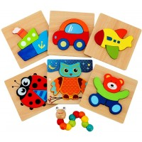Wooden Jigsaw Puzzles For Toddlers Jaolex Animal Vehicle Pattern Puzzles Shape Block For 1 2 3