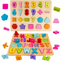 2Pcs Wooden Puzzles Alphabet Numbers Shape Learning Board Toy For Kindergarten Toddlers Early