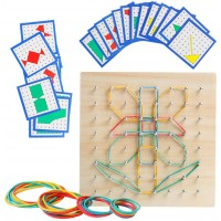 Wooden Geoboard Mathematical Manipulative Material Array Block Geo Board Graphical Educational Toys