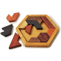Kingzhuo Hexagon Tangram Classic Chinese Handmade Wooden Puzzle For Children And Adults Brain