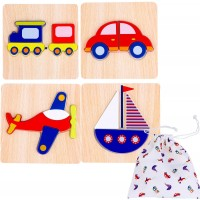 Toddler Wooden Jigsaw Puzzles Chunky Pack Of 4 Educational Toys For Preschool Kids Ages 1 2 3 Boys