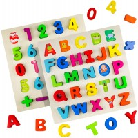 Timy Wooden Alphabet Puzzle And Number Set For Toddlers Abc