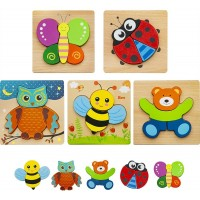 Hzone Wooden Jigsaw Puzzles For Toddlers 1 2 3 Years Old 5 Pack Early Educational Toys Gift With 5
