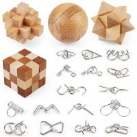 Brain Teaser Puzzle Wooden And Metal Wire Puzzles 20 Pcs Unlock Interlock Puzzle Games Brain Games
