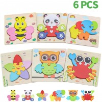 Wooden Animal Jigsaw Puzzles For Toddlers Age 1 2 3 4 5 Early Educational Toys Gift With 6 Animals