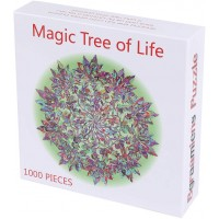 Bgraamiens Puzzlemagic Tree Of Life 1000 Pieces Colorful Leaves Mandala Challenge Blue Board Round