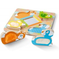 Melissa Doug First Play Wooden Touch Feel Puzzle Peekaboo Pets 4 Textured Pieces And