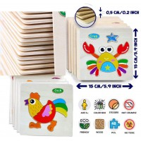 Wooden Animal Jigsaw Puzzles For Toddlers 1 2 3 Years Old Boys Girls Educational Toys Gift With 6