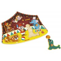 Janod 6 Piece Stars Of The Circus Themed Wooden Peg Colorful Jigsaw Puzzle Encourages Shape